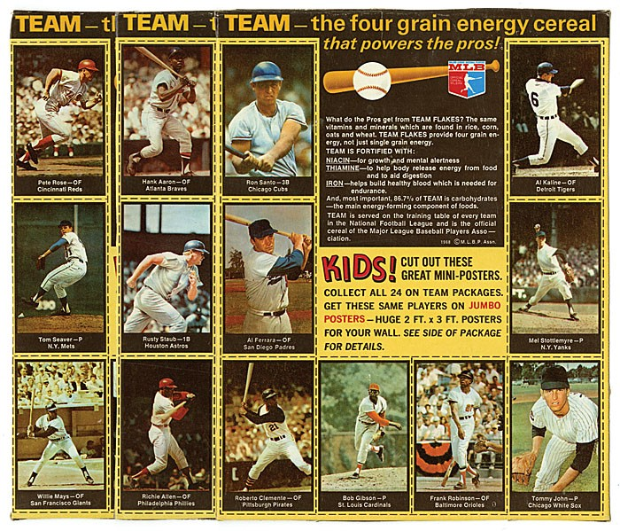Nabisco Team Flakes baseball cards 1969