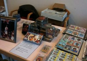 Dealer's table at sports card show in Germany