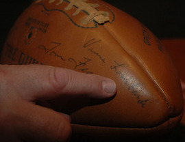 Vince Lombardi autograph on Packers signed ball from 1965
