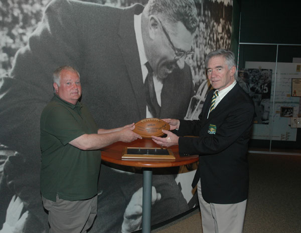 1965 Packers signed game ball presented to Packers Hall of Fame