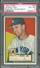1952 Topps Johnny Sain error