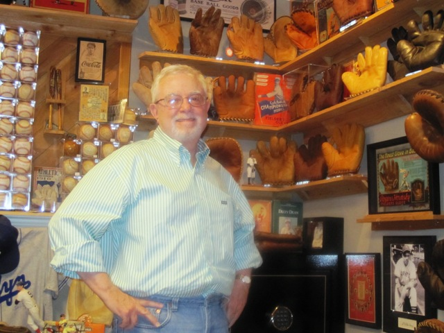 John Graham with part of his glove collection