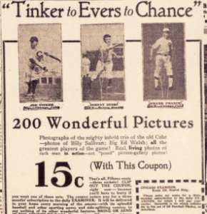 Baseball cards 1916 Chicago Examiner ad
