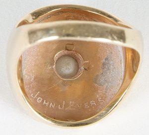 Back side of 1914 World Series ring John Evers
