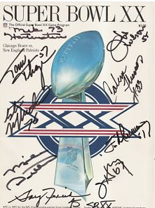 Autographed Super Bowl 20 program