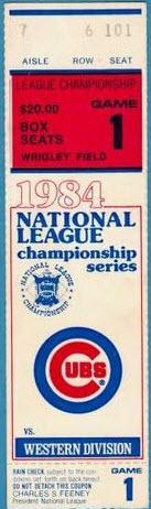 Ticket stub 1984 Cubs Padres