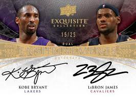 Upper Deck Exquisite Kobe Bryant and Lebron James Card