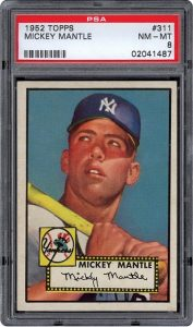 PSA 8 1952 Topps Mantle rookie