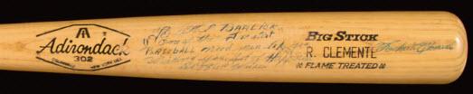 Roberto Clemente autographed bat