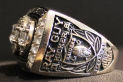 Ray Guy Super Bowl XVIII ring