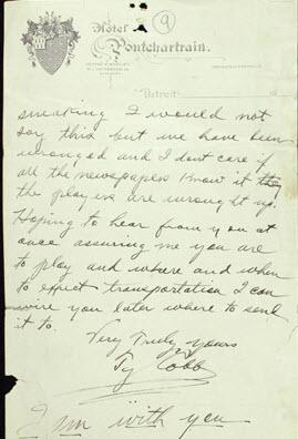 Signed Ty Cobb letter