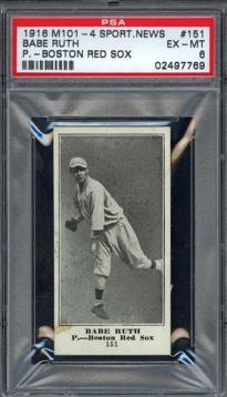 Babe Ruth 1916 M101-4 rookie card