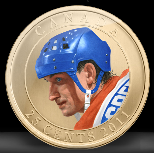 25-cent Gretzky colored coin