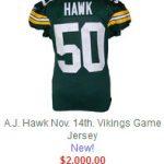 Game worn AJ Hawk jersey