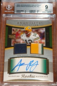 Aaron Rodgers auto rookie card Exquisite