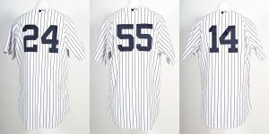Russell Martin game worn Yankees jersey