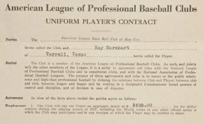 Ray Morehart 1927 Yankees contract