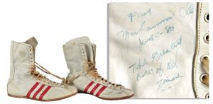 Boxing shoes Ali signed