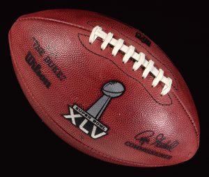 Game used football Super Bowl XLV kickoff ball