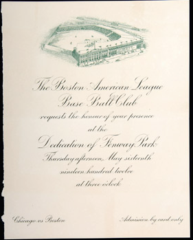 Opening invitation Fenway Park 1912