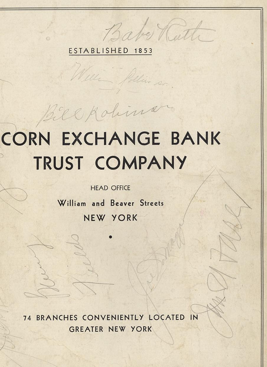 1939 World Series program Ruth DiMaggio autograph