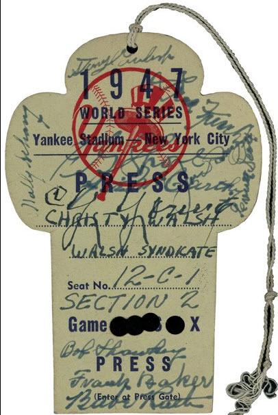 Hall of Famer autographs on 1947 press pass