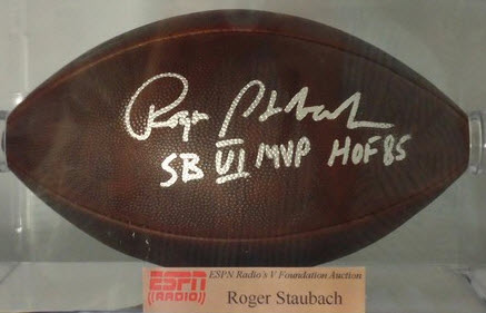 Autographed Roger Staubach football
