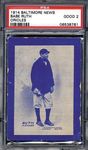 1914 Babe Ruth rookie card Baltimore Sun