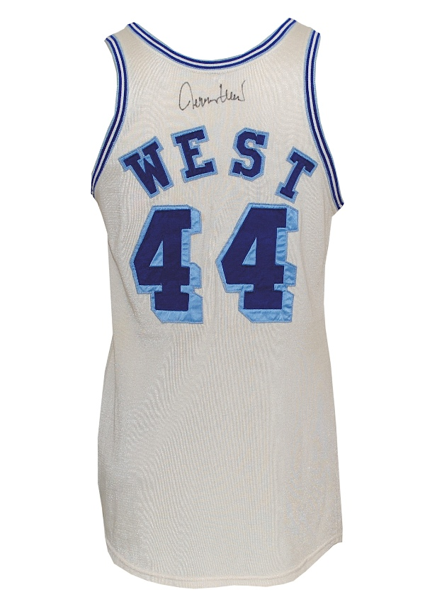 Early 1960s Jerry West Los Angeles Lakers game-used and autographed home jersey