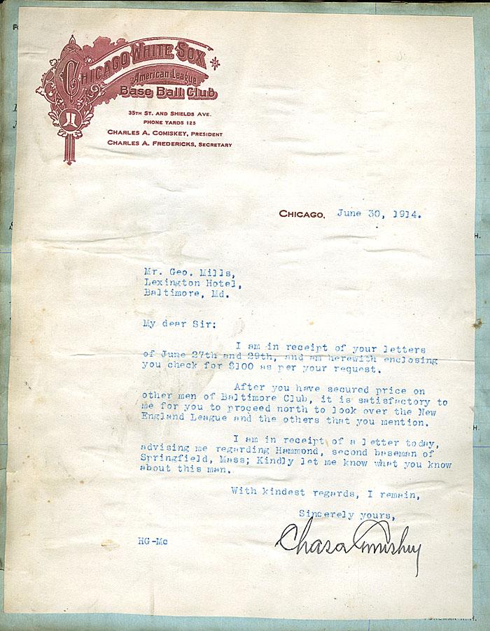 Letter Charles Comiskey