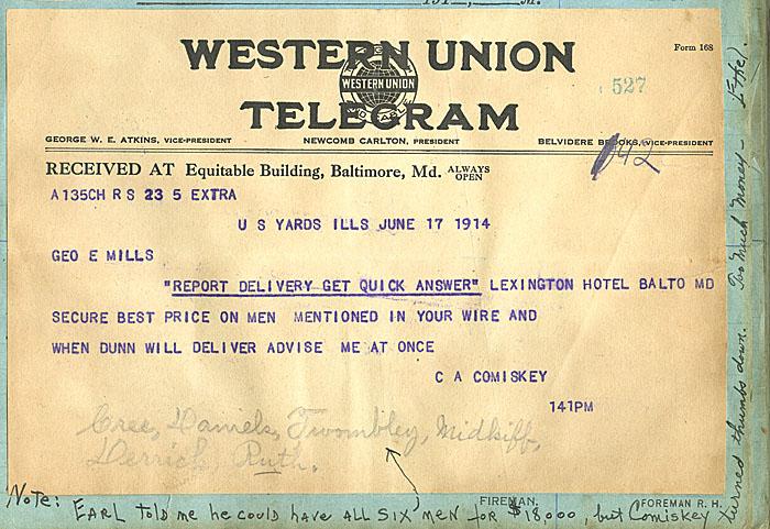 Telegram Charles Comiskey Babe Ruth