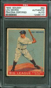 Lou Gehrig signed 1933 Goudey