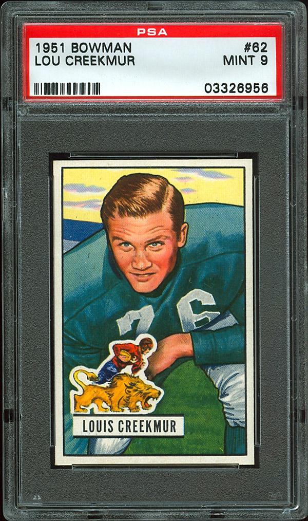 Lou Creekmur rookie 1951 Bowman football card psa 9