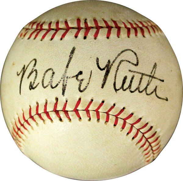 Autographed Babe Ruth ball PSA DNA 8