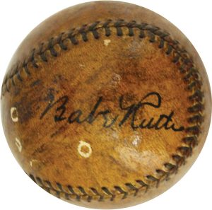 Autographed Babe Ruth ball Memory Lane Auction