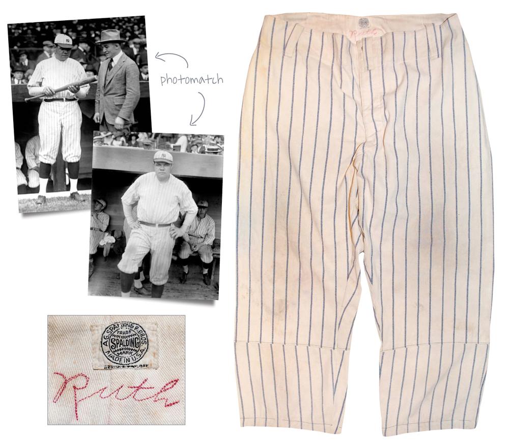 Babe Ruth pinstripe pants 1921
