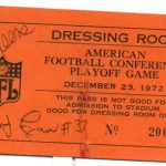 Signed locker room pass 1972 AFC Playoffs