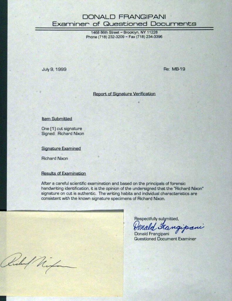 Frangipani cert fake Nixon cut