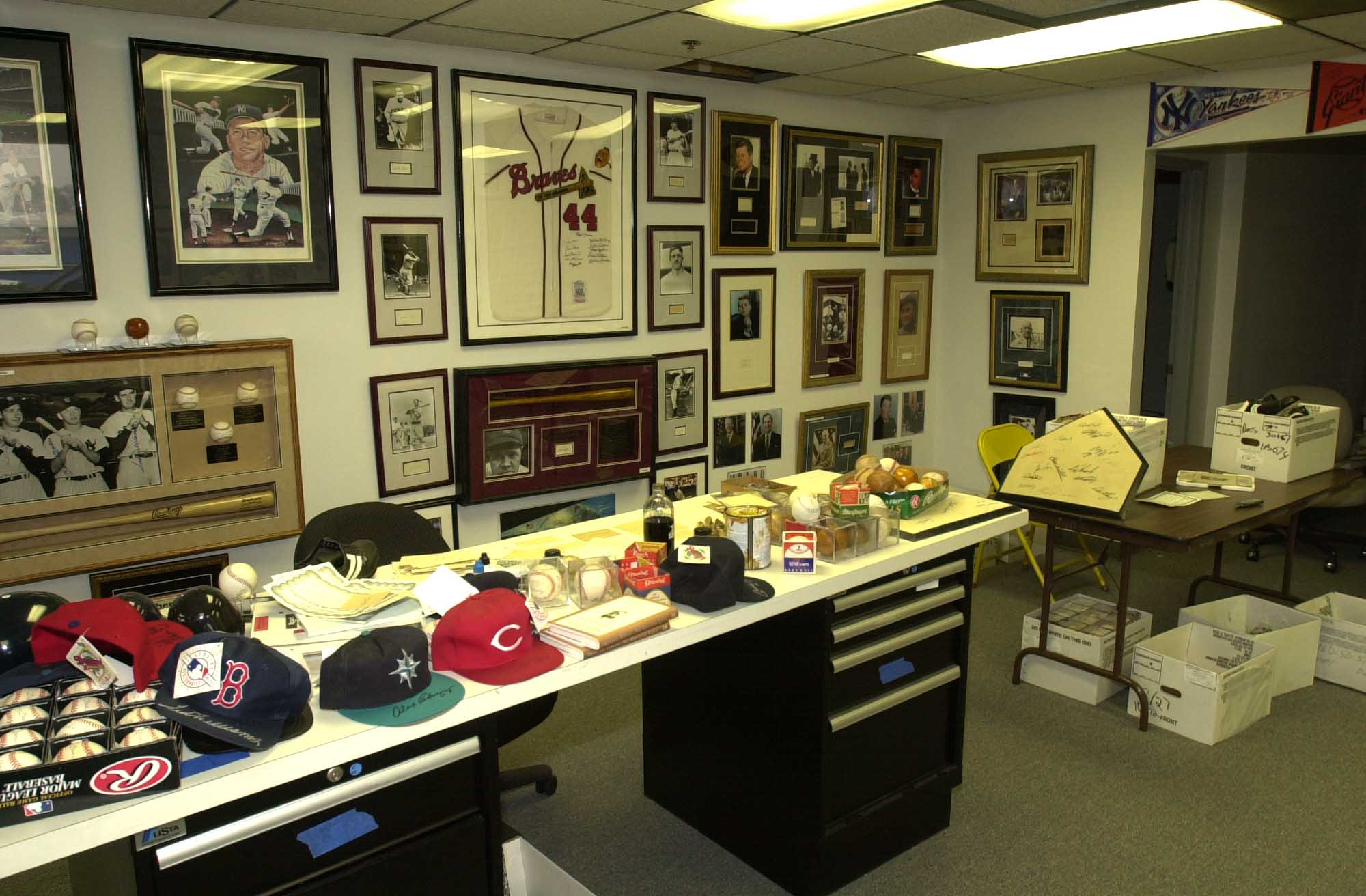 A room full of Mickey Mantle and other forgeries confiscated by the FBI.
