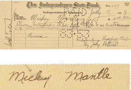 Mickey Mantle signed bonus check 1949 Yankees