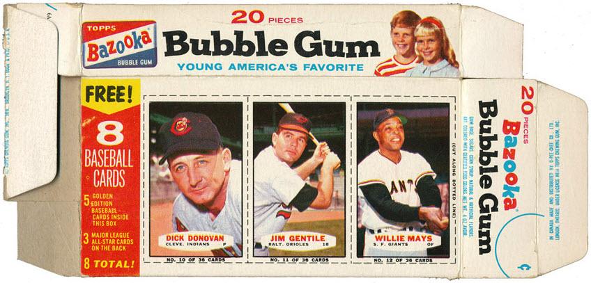 Bazooka baseball card box 1963