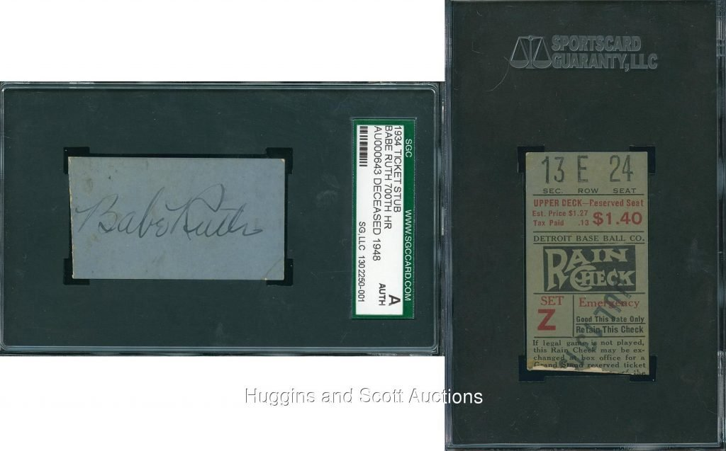 Signed ticket stub Babe Ruth 700th homer