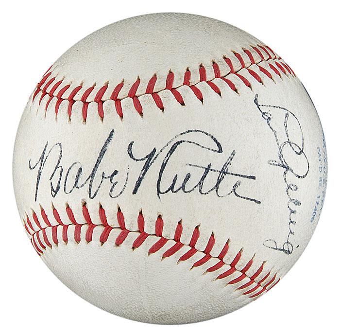 Dual signed Babe Ruth-Lou Gehrig baseball