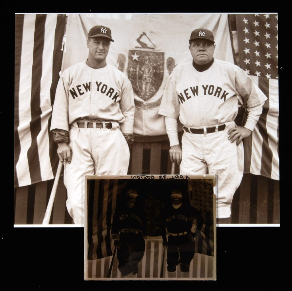 Babe Ruth Lou Gehrig negative and photo