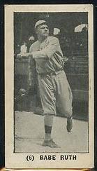 Babe Ruth 1928 Sweetman baseball card