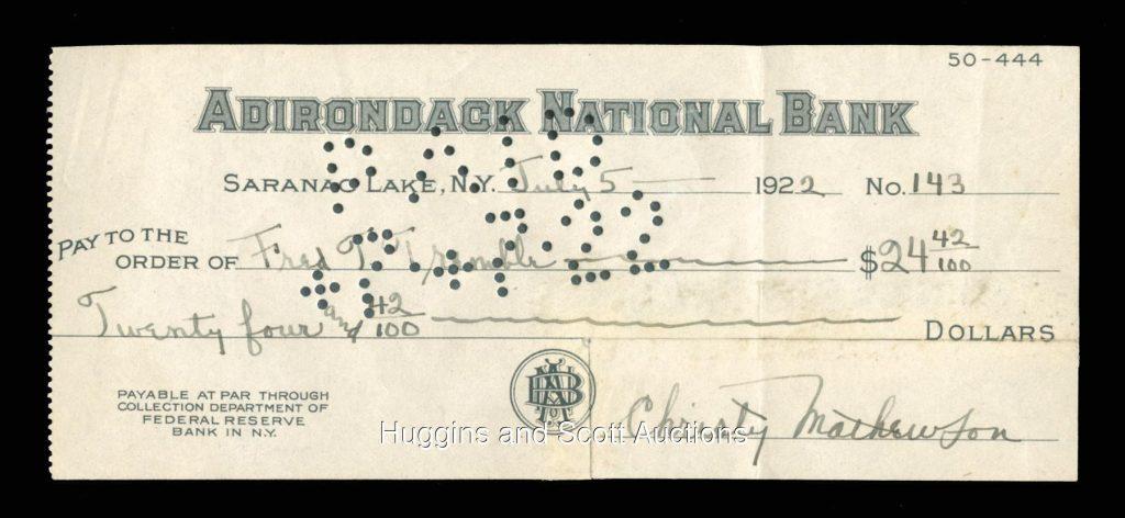 Bank check Christy Mathewson autograph