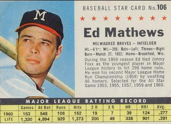 1961 Post Eddie Mathews