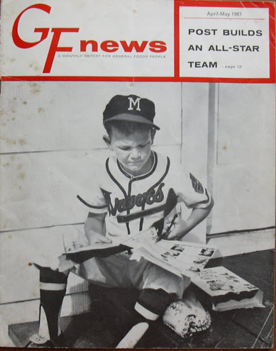 General Foods newsletter cover featuring Braves batboy cutting cards from box