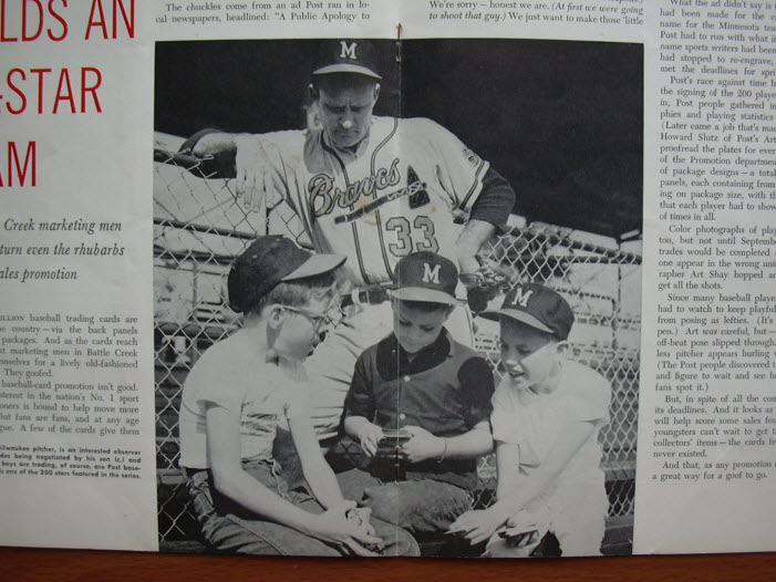 Close-up of GF article featuring Lou Burdette watching his son and boys trading Post cereal cards