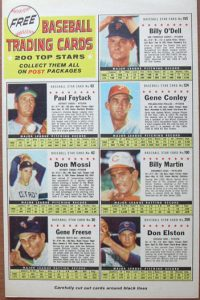 Post Cereal back panel baseball cards 1961